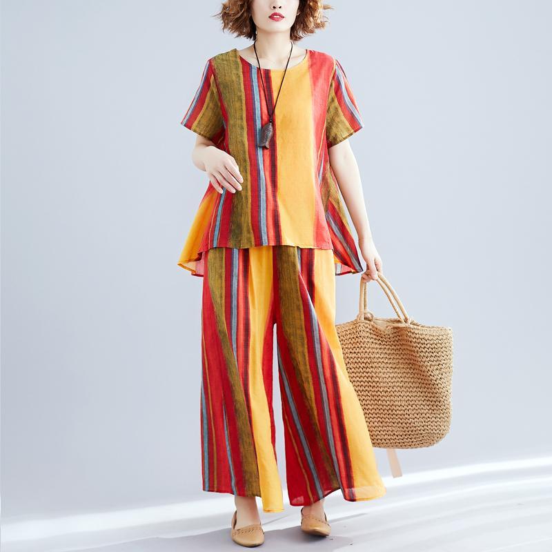 # 0822 Sommer 2 Stück Outfits für Frauen Unregelmäßiges T-shirt Gestreifte gedruckte und breite Beinhosen Frauen Baumwollwäsche Zwei Stück Set