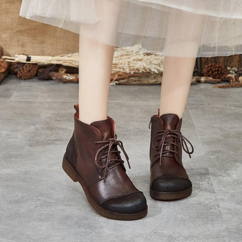 Kurzstiefel Damen 2020 neue Retro wilden Leder Herbst Winter literarisch Stiefel dick mit ethnischen Stil der Frauen