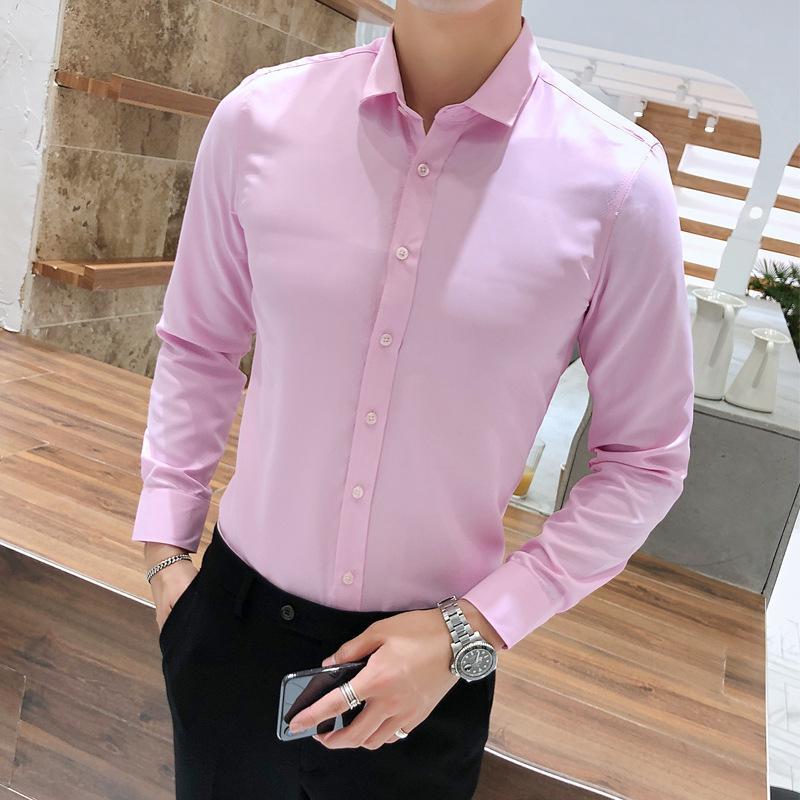 Camisa para hombre salvaje de manga larga de negocios Partido banquete de la boda delgada camisa del color sólido de gran tamaño Boutique Hombres formal