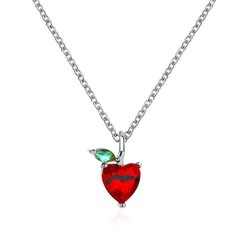 Cherry necklace Fruit Pineapple Apple Pendant Necklace With diamond Rose Gold and Silver Alloy Jewelry