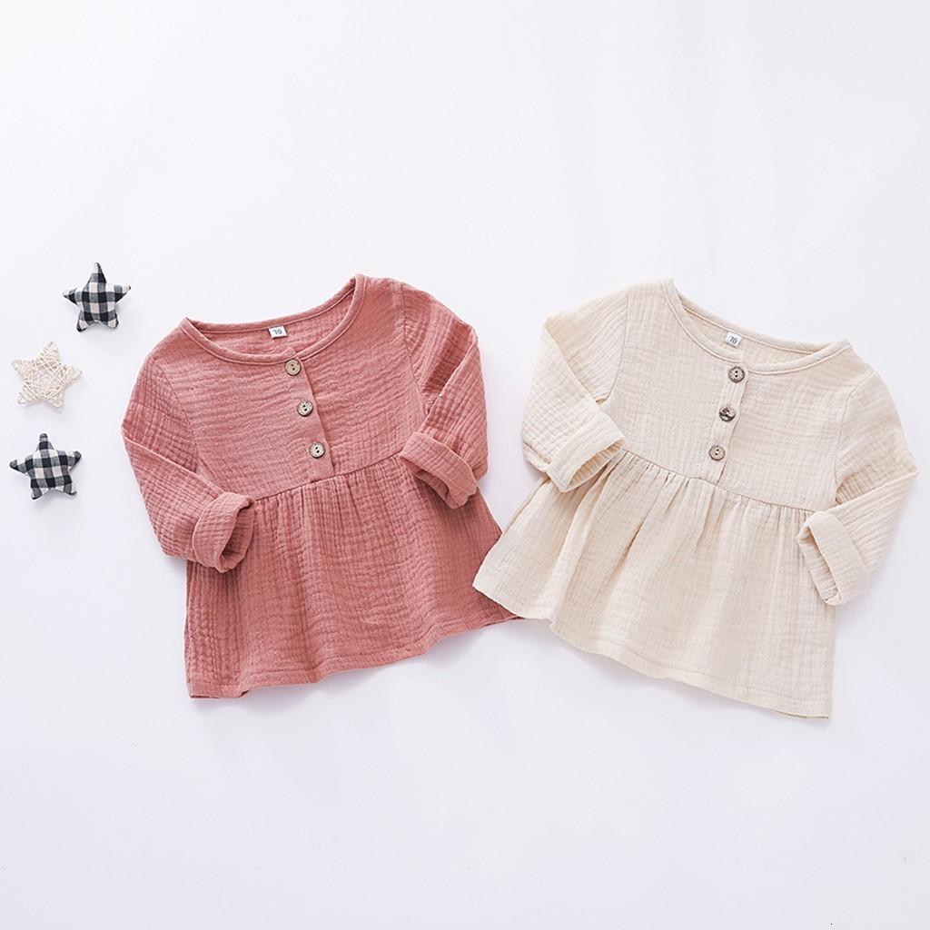 DHgate Fashion Toddler Newborn Baby Girls Long Sleeves Button Princess Dress Clothes Clearance newst baby dress Z0208