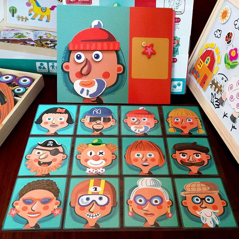 Dibujos animados de rompecabezas inteligencia creativo magnético figura rompecabezas de madera cognitivo infantil juguetes tablero de juguetes vehículo vehículo 3D DIY EDUCACIÓN GI DDFL