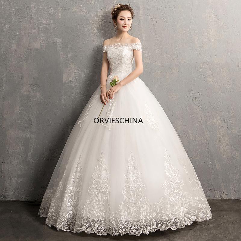 Designers light Sons shoulder wedding dress 2020 new style bride Korean dream show thin size pregnant women
