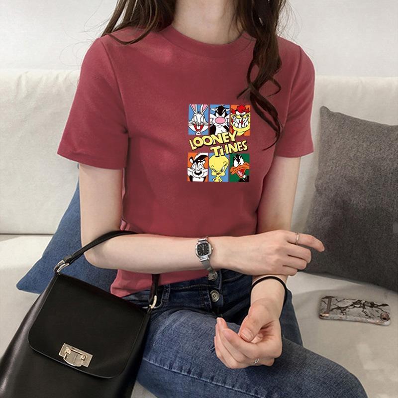 thlRH Cartoon women's super Coat T-shirt top trendy trendy hot 2020 Summer new short sleeve Korean half sleeve top white T-shirt ins ins EMDm