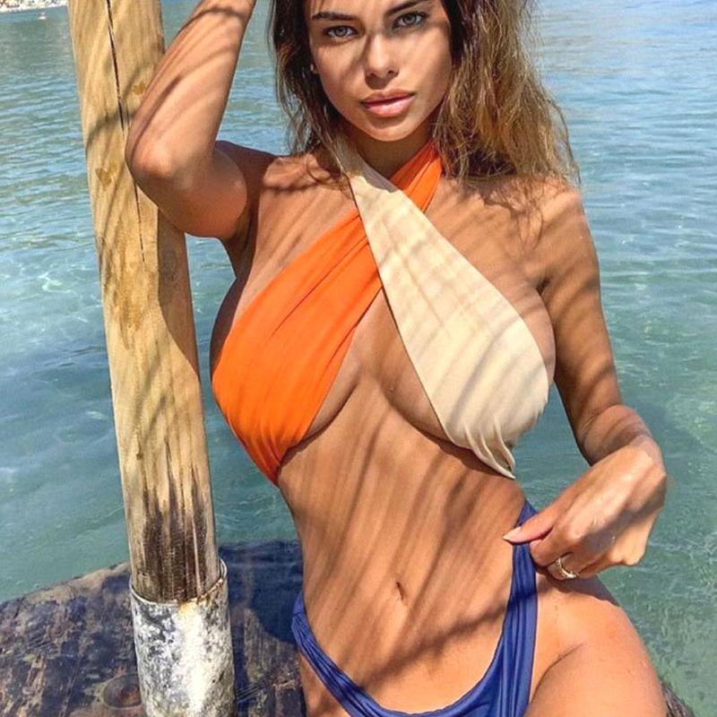 Badeanzug für Frauen Swimwer Monokini Thong Bodys Sexy Kreuz durchschauen Swimsuits One Piece High Cut-Badeanzüge