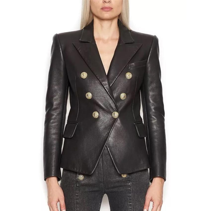 CALLE PRINCIPAL más nuevo barroco Moda 2020 Diseñador chaqueta de la chaqueta de las mujeres león botones del metal de cuero de imitación CX200822 capa de la chaqueta exterior