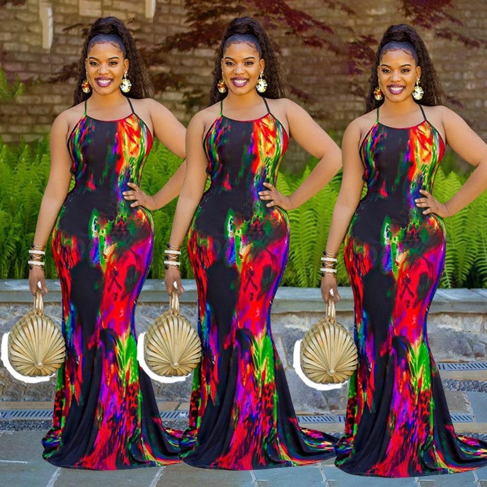 fIOAi 2020 가을 새로운 슬림 핏 그라데이션 걸레 긴 치마 치마 걸레 긴 드레스를 인쇄 드레스 2020 가을 새로운 슬림 핏 그라데이션 인쇄