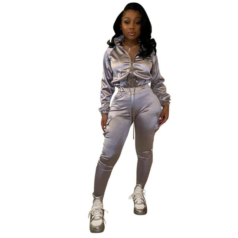 2020 sıcak satış kadın sokak rahat tarzı setleri uzun kollu yaka fermuar üst elastik uzun pantolon saf renk iki parçalı setler