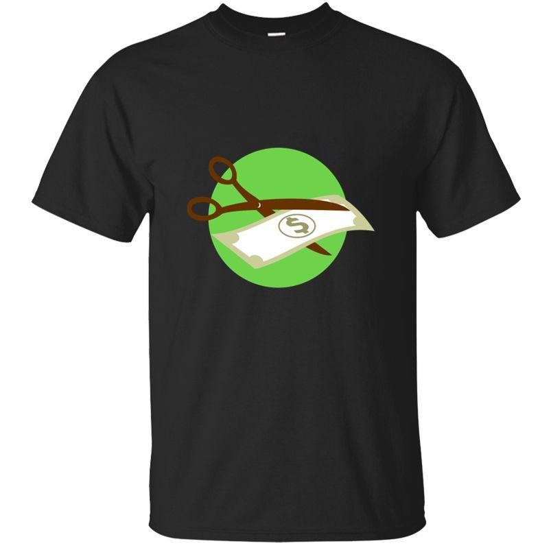 Gedruckt Comical Schneiddollarschein mit einer Schere Retro-T-Shirts Kawaii Street Herren T-Shirt humoristischen Euro-Größe S-5xl T Tops