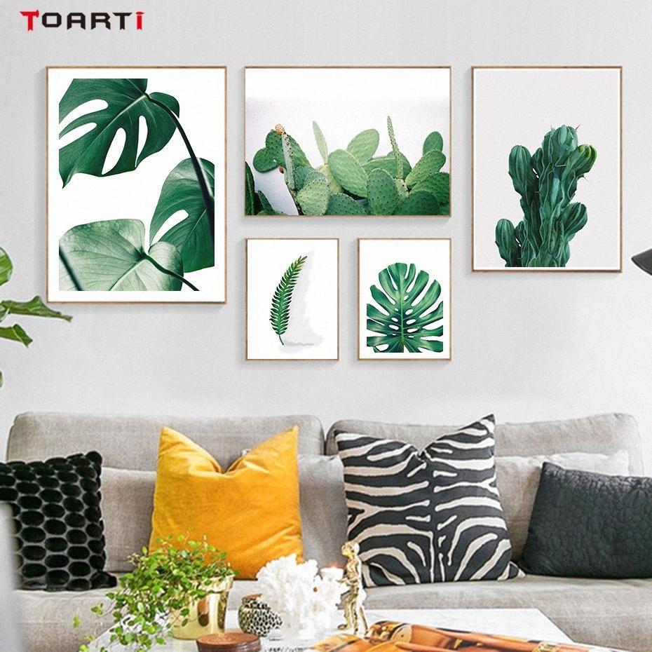 Moderne grüne tropische Pflanze Blätter Leinwand-Malerei Wand-Deko Poster und Drucke Nordic Wandbilder für Wohnzimmer No Frame tRIT #