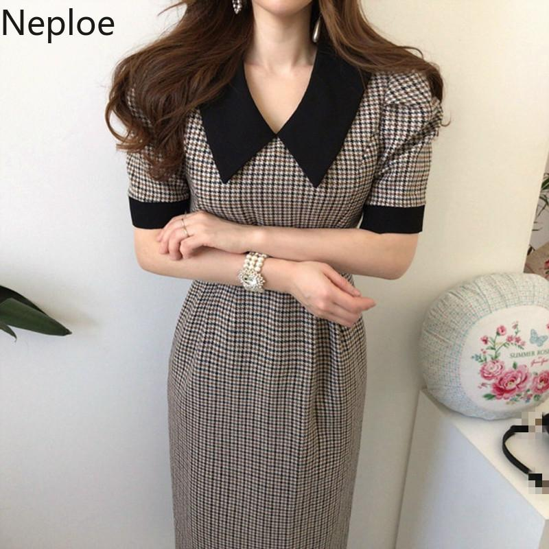 Neploe coreano Chic Contrasto colori Patch Houndstooth Plaid Dress alta Vita Anca Split design Vestido Slim Fit lungo Ropa Nuovo 49075 LJ200812