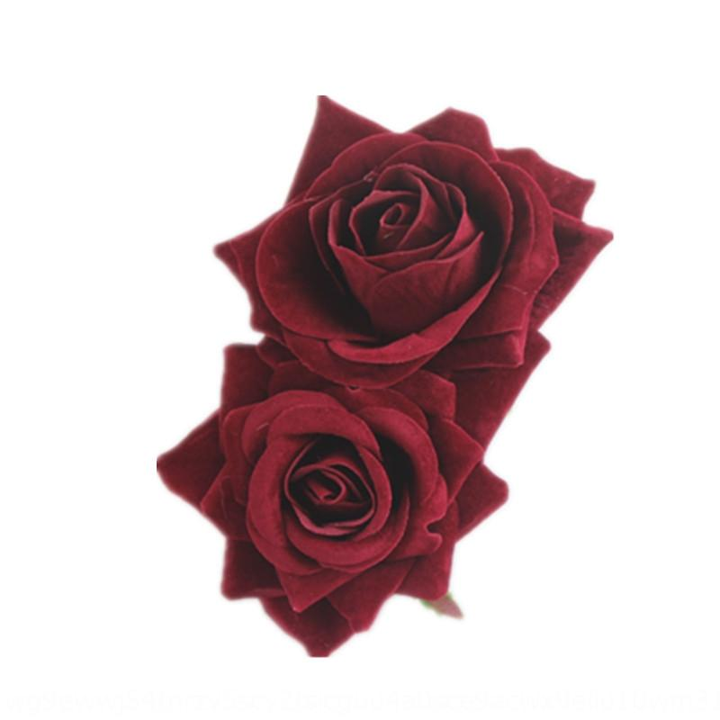 dXBSQ Red simulation edge clip New bridesmaid hair plate headdress double flannel Artificial artificial flower simulation flower rose hairpi