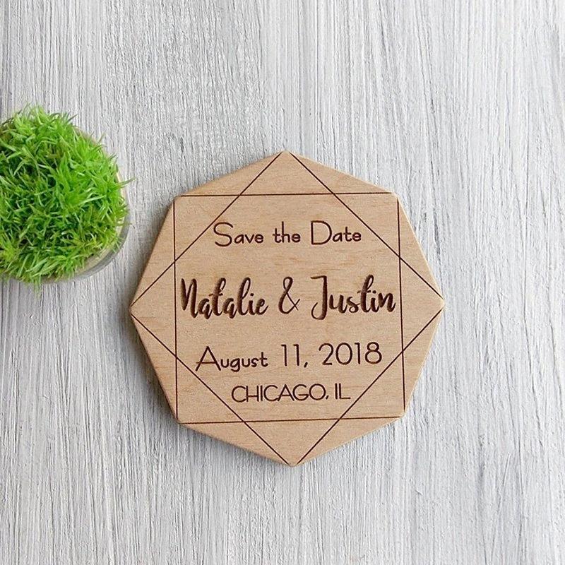 Hochzeit retten die Datums-Magneten, die Einladung Wedding sind, Geometrisch-Abwehr das Datum, Ankündigung, Holz Modern Bride kpd8 #