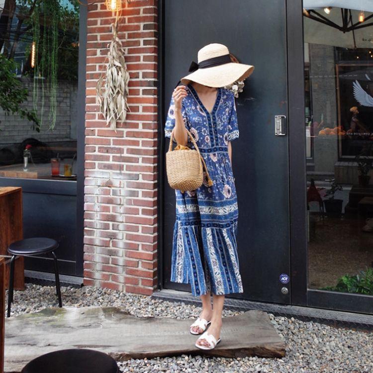 falda del vestido con cuello en V vestido impreso bohemio de la playa informal estilo étnico jarHw la playa del verano de la falda de vacaciones HRQKW media manga