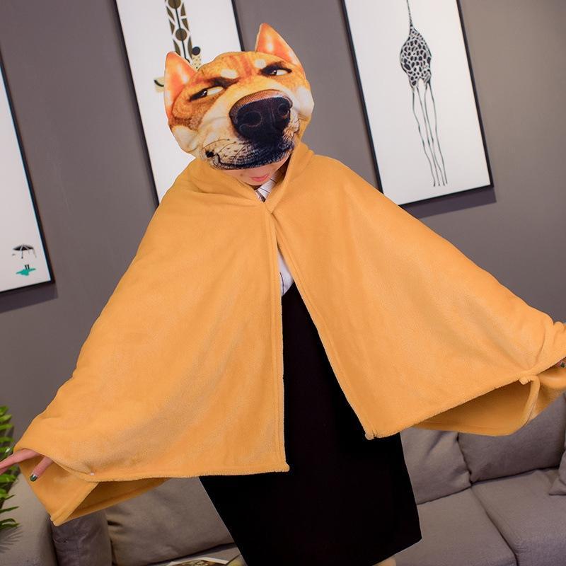 ijnYF Мультфильм животные смешной шали накидка ленивое многофункциональная шаль накидка офис вздремнуть одеяло фланель одеяло для женщин