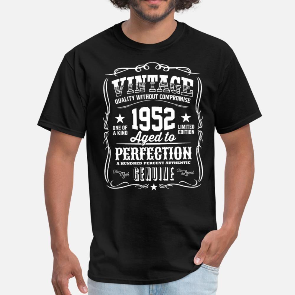 Vintage 1952 Yaşında için mükemmellik Tişörtlü Erkekler Pamuk S-XXXL Giyim Kırışıklık Karşıtı Yapı İlkbahar Sonbahar Trend Gömlek yazdır