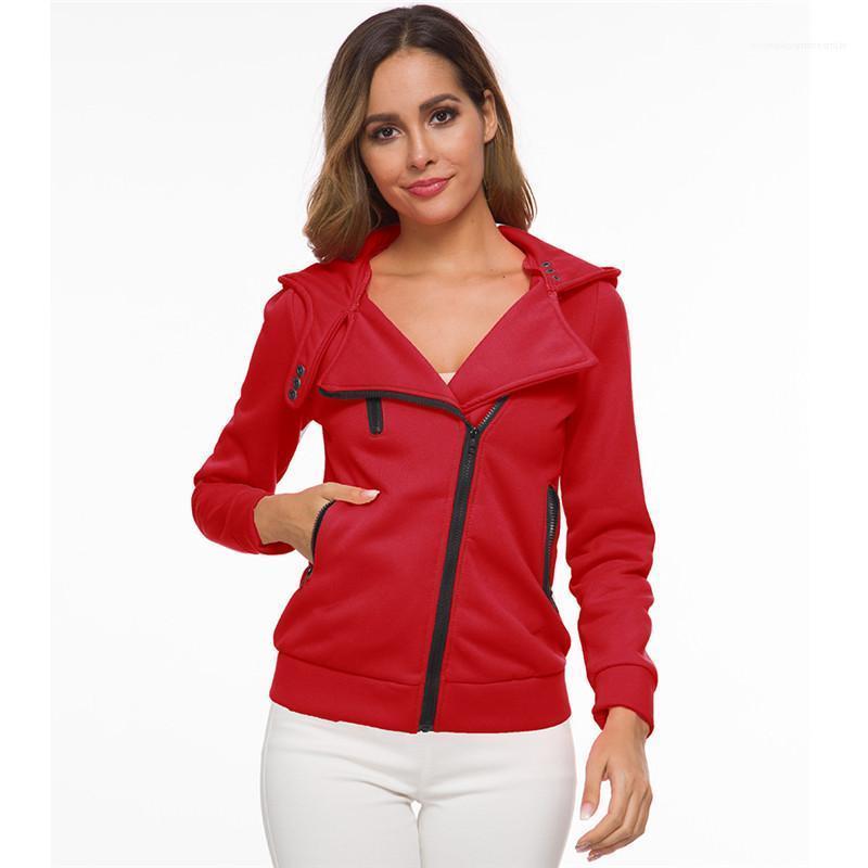Sólido de color de la cremallera Bolsillos Coats hembra ocasional otoño ropa de invierno para mujer diseñador chaquetas con capucha delgado cuello de solapa