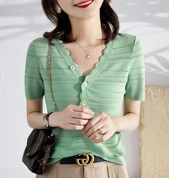 gömlek canlılık yeşil serin ve serin Gi8U2 Tam iyi gömlek Fransız narin 16 pinli aşınma vücut yaz dokunmayın