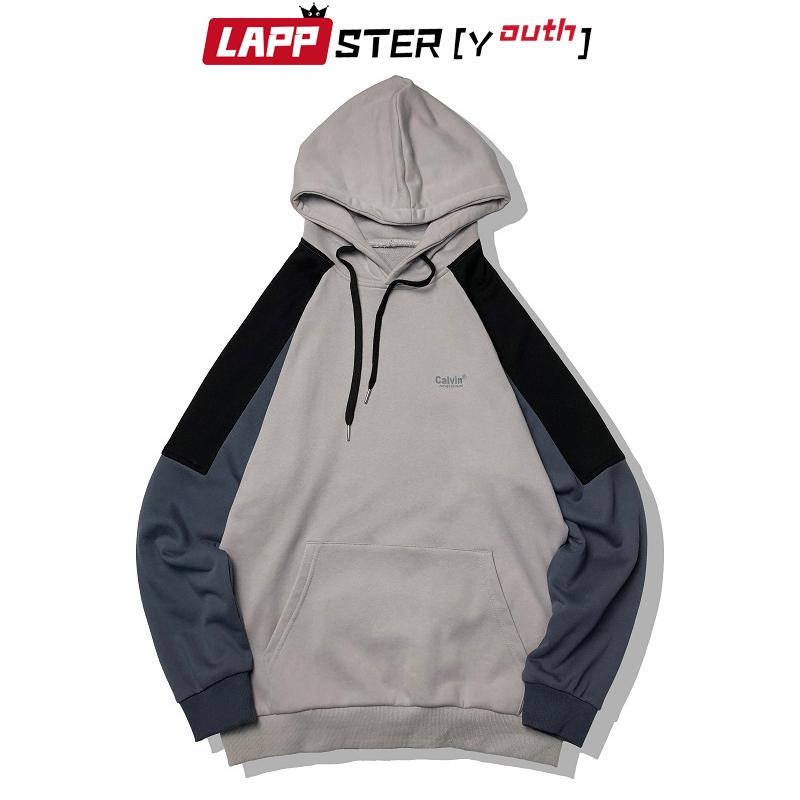 LAPPSTER Goutte d'épaule surdimensionnée Sweatshirts Automne 2020 Fashions Hommes coréenne Hip Hop Hooded Sweats à capuche Homme Sweat-shirts Vintage