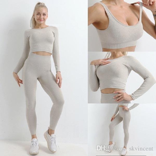Autumn Fashion Designer Womens Cotton Yoga Suit Gymshark Sportwear Fatos de Fitness Esportes de três peças calça conjunto 3psc bra Leggings roupas