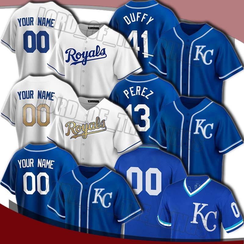 Royals personalizado Salvador Pérez Jersey Whit Merrifield Hunter Dozier Jerseys George Brett Danny Duffy Jersey Ryan O'Hearn Jerseys de béisbol