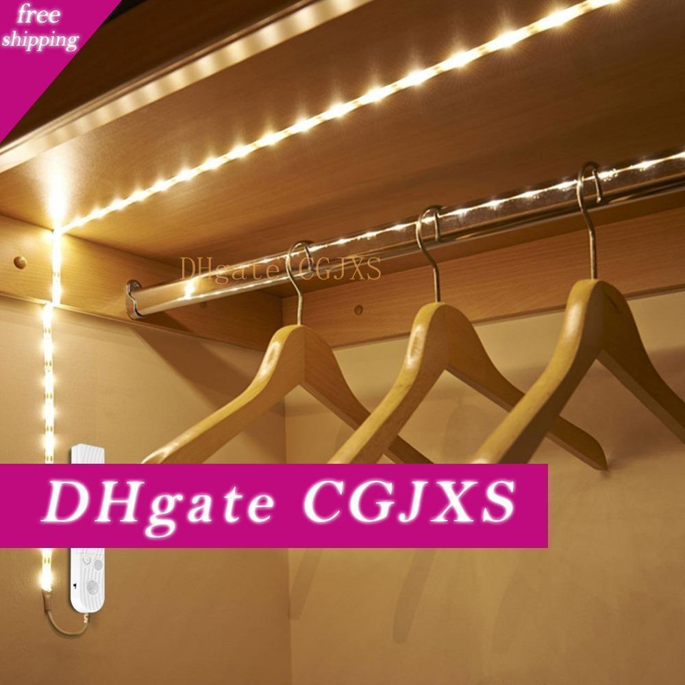 Llevó la luz del gabinete de Gaza Dc cable USB 5V AAA con pilas de cinta lámpara del armario Pir del sensor de detección de movimiento de cocina Escaleras de cama