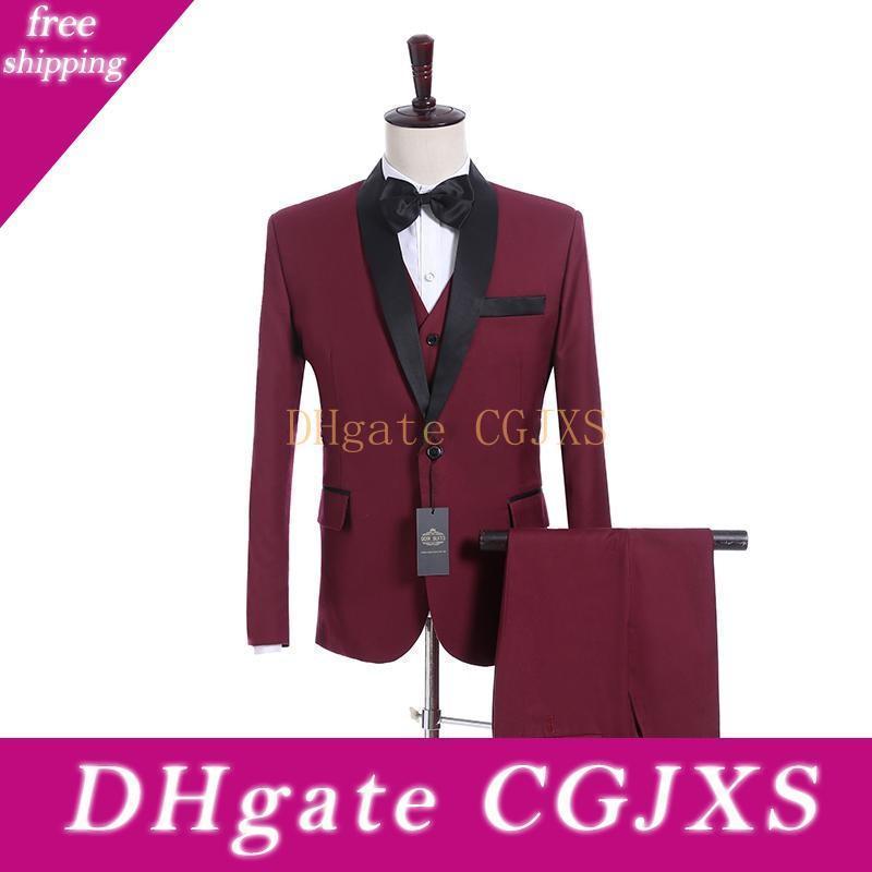 Yeni Geliş Yan Vent Tek Düğme Burgonya Düğün Damat smokin Şal Yaka Groomsmen Erkekler Suits Prom Blazer (Ceket Pantolon Yelek Tie) U46