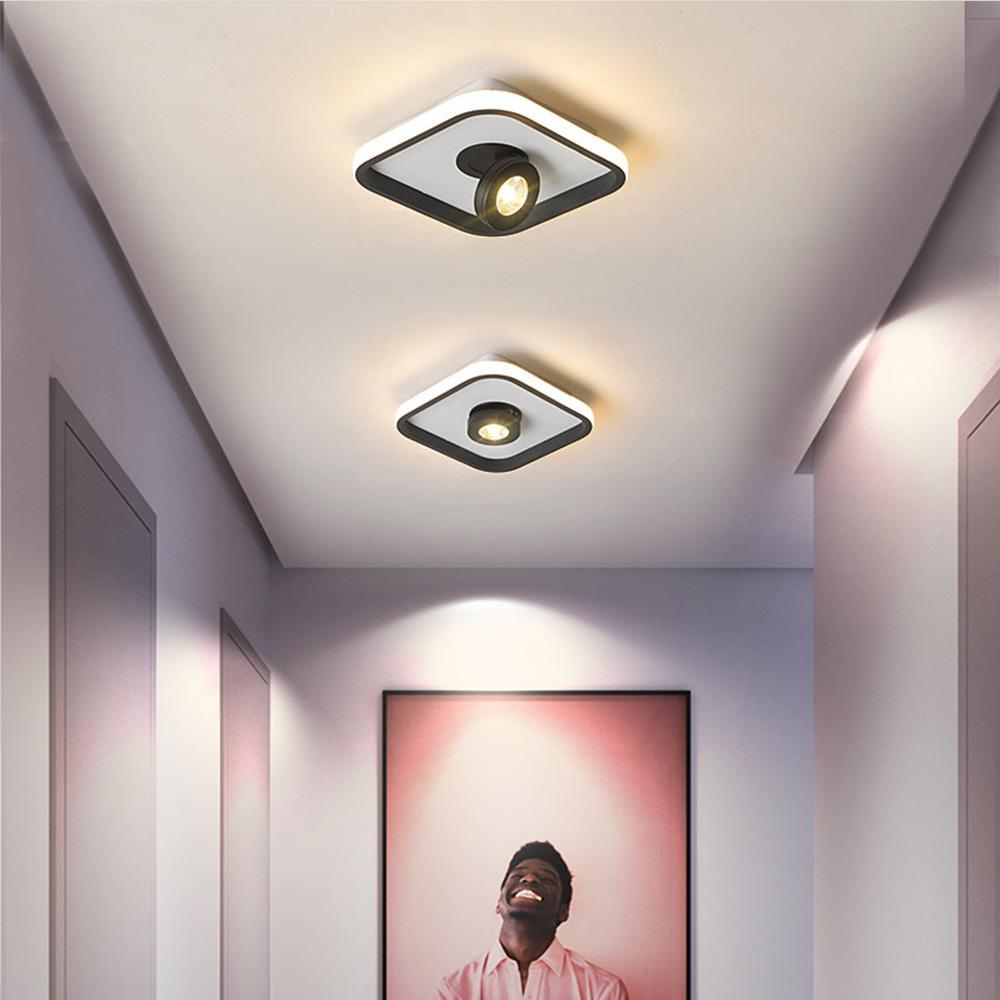 Teto Preto Modern LED Branco Quadrados Luminárias para Quarto Jantar Sala Corredor Cozinha loft loja do hotel Focos