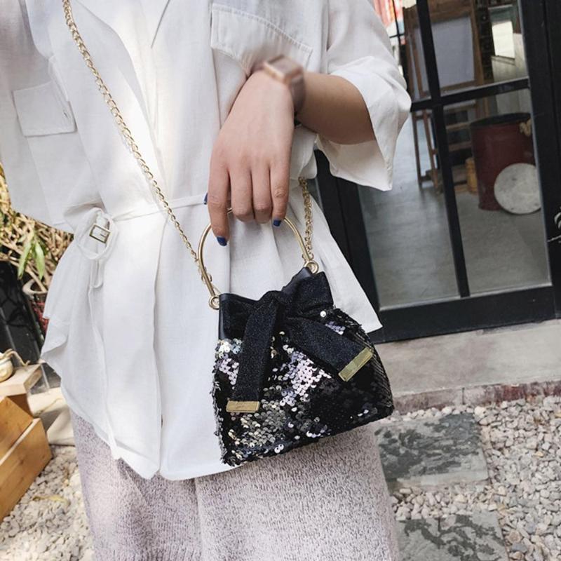 Messenger Fashion Bucket Handbag Bow Feminina Женская сумка цепь Дикая металлическая цепь Bolsa Bags Pack Crossbody маленькие блестки / E MTQPD