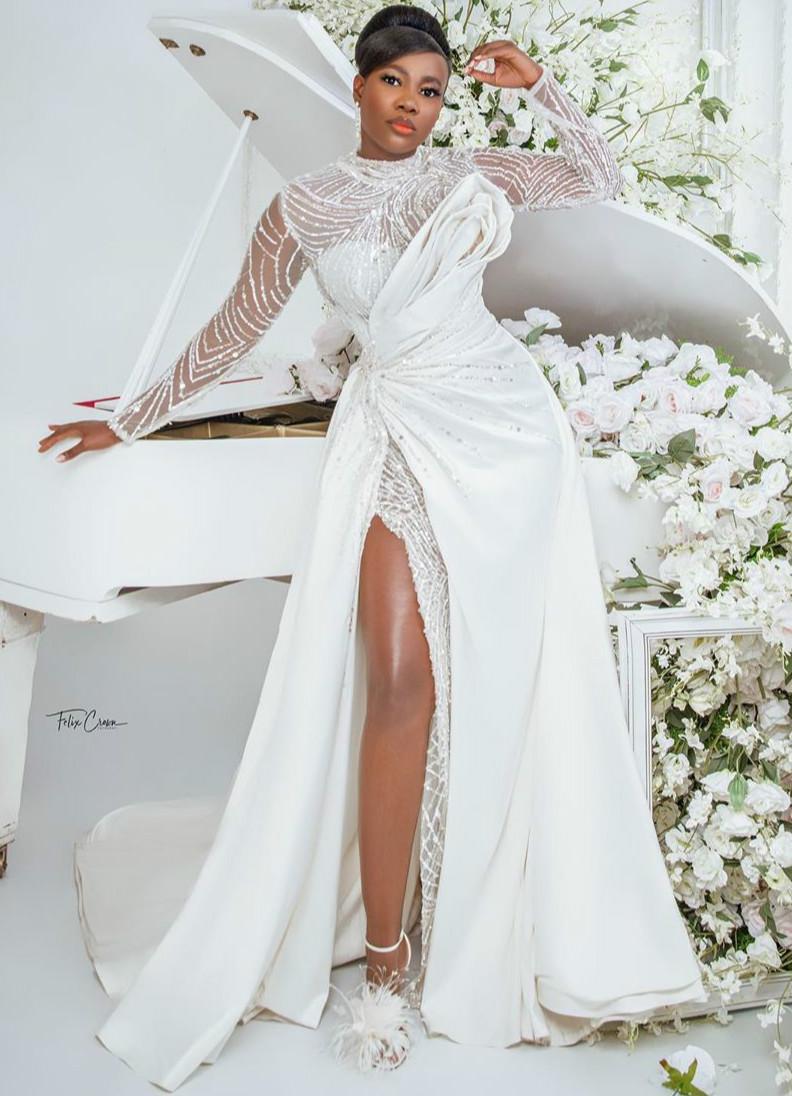 2020 más el tamaño de Árabe Aso Ebi brillante con cuentas vestidos de boda atractivo de alta Dividir los vestidos de novia de manga larga de raso vestidos de boda ZJ0533