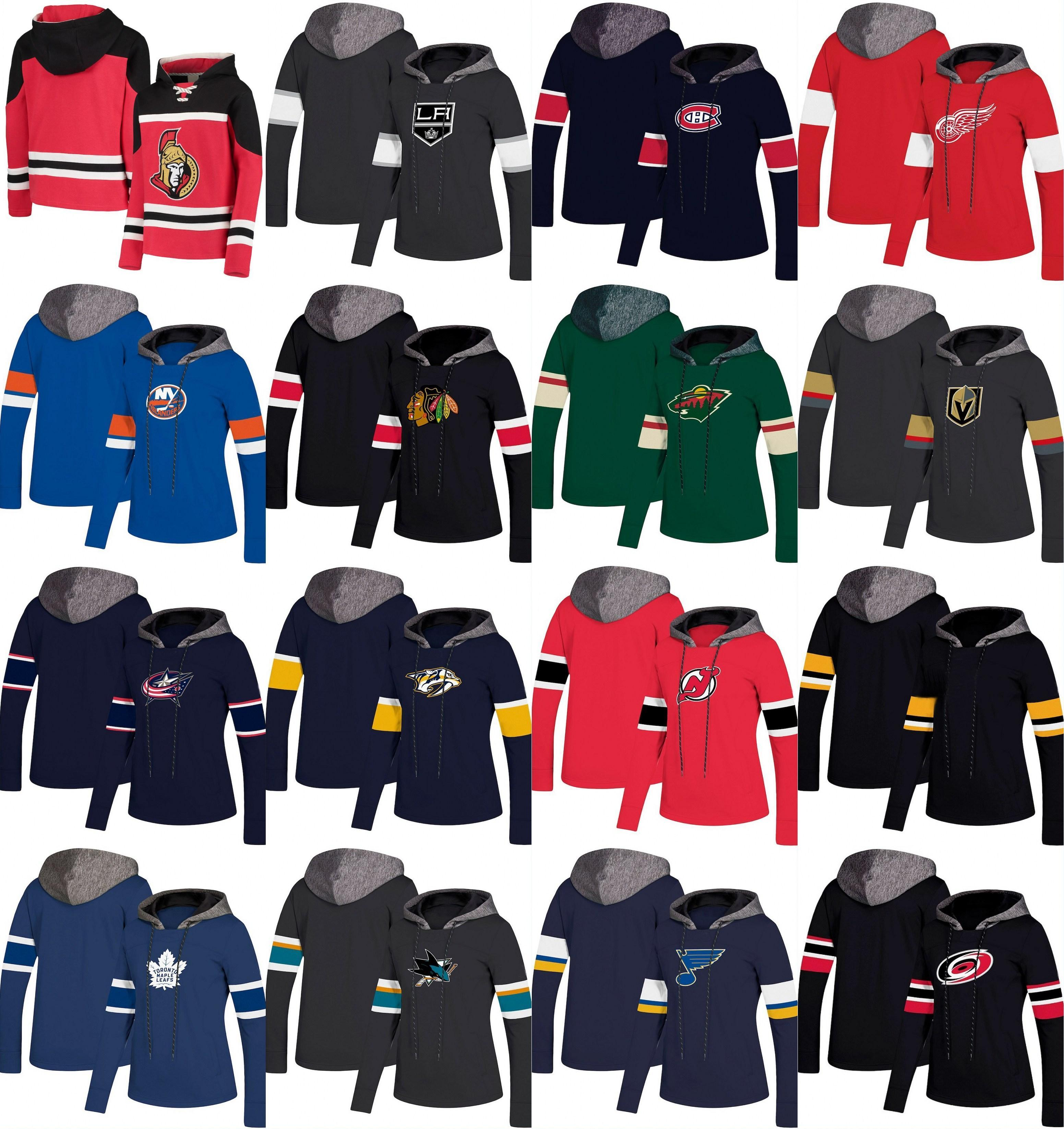 HOCKEY Sudadera con capucha para mujer NY Islands New Jersey Devils Toronto Leafs Los Angeles Reyes Detroit Red Wings Montreal Canadiens