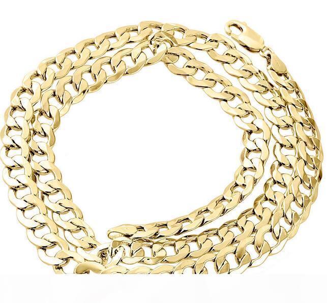 Mens real 10K ouro amarelo oco cubana Curb Chain Link Colar 8 milímetros 24 polegadas