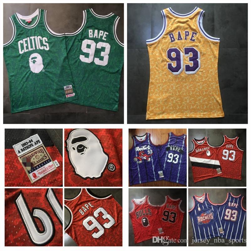 Мужчины BAPExMITCHELL Ness LakersCelticsБыкиХищники 93Bape Зеленый 1982-83 ЛиственныеКлассика Дважды Вышитые Джерси