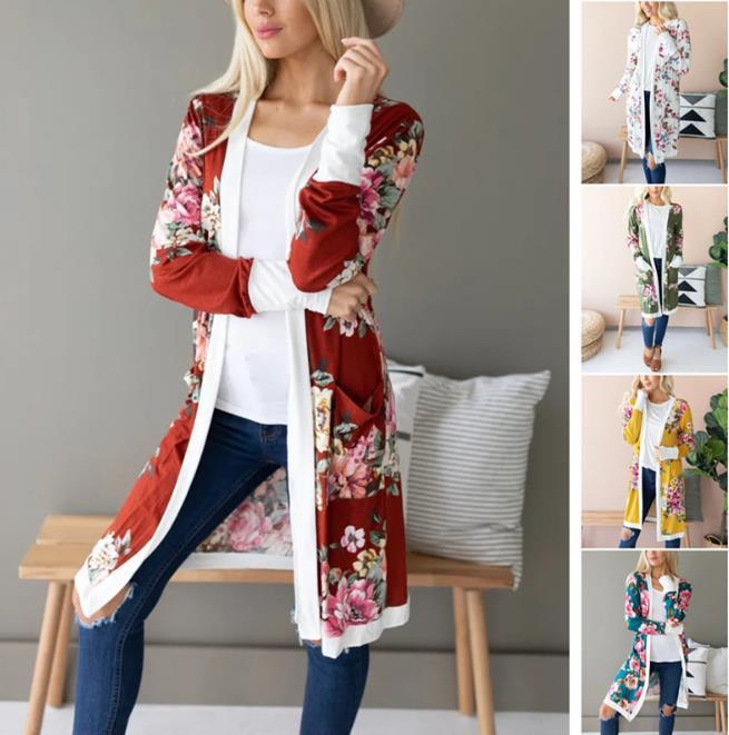 20FW Frauen Pullover Strickjacke-beiläufige lange Hülsen-dünner Strick Cardigan Mode-Blumenmuster Frauen Mäntel Dropshipping Kleidung
