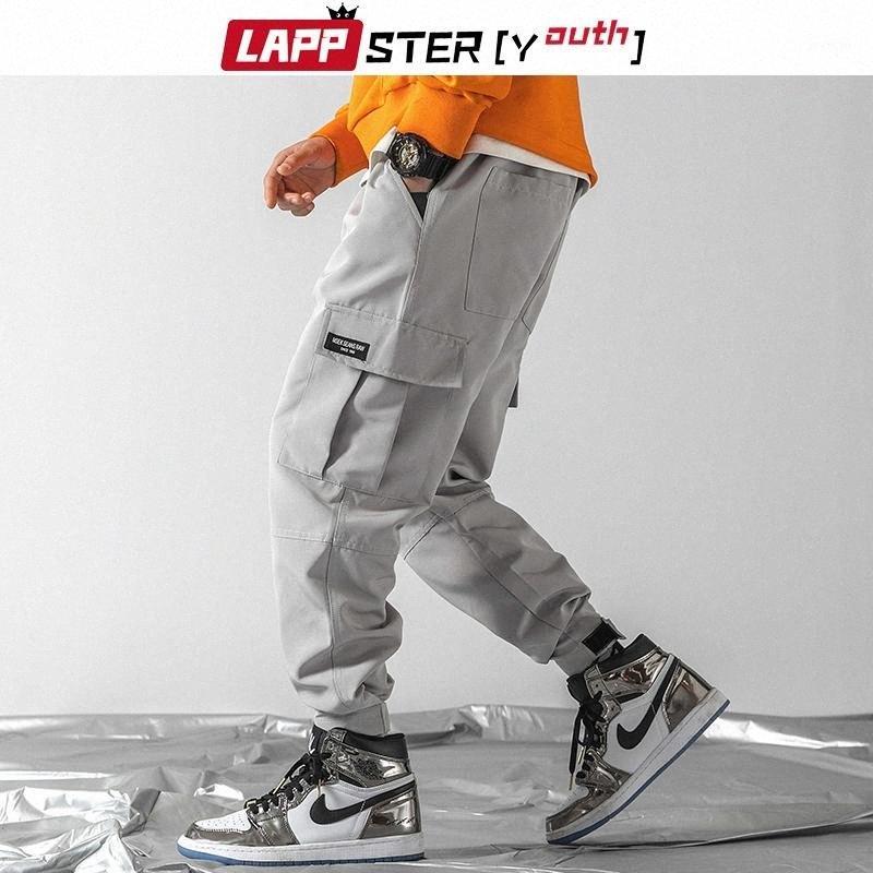 LAPPSTER-Youth Men Streetwear Hip Hop Joggers Harem Pants 2019 Mens Overalls Grey Cargo Pants Korean Fashions Black Sweatpants1 ca7Q#