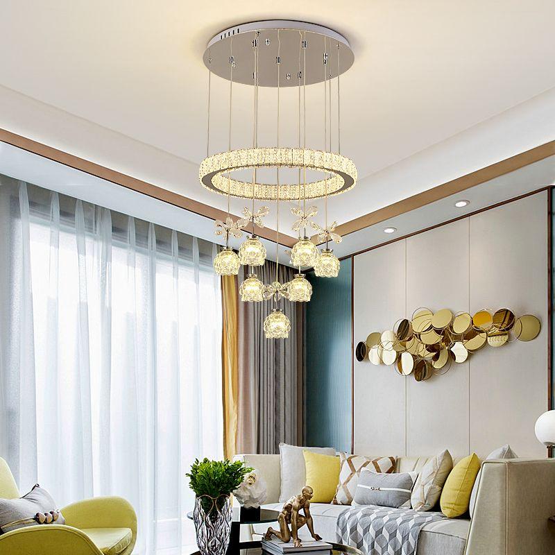Neue moderne Kristallleuchter Drei Kreative Gastronomie Tischlampe LED-Fernbedienung Dimming Haushalt Wohnzimmerlampe