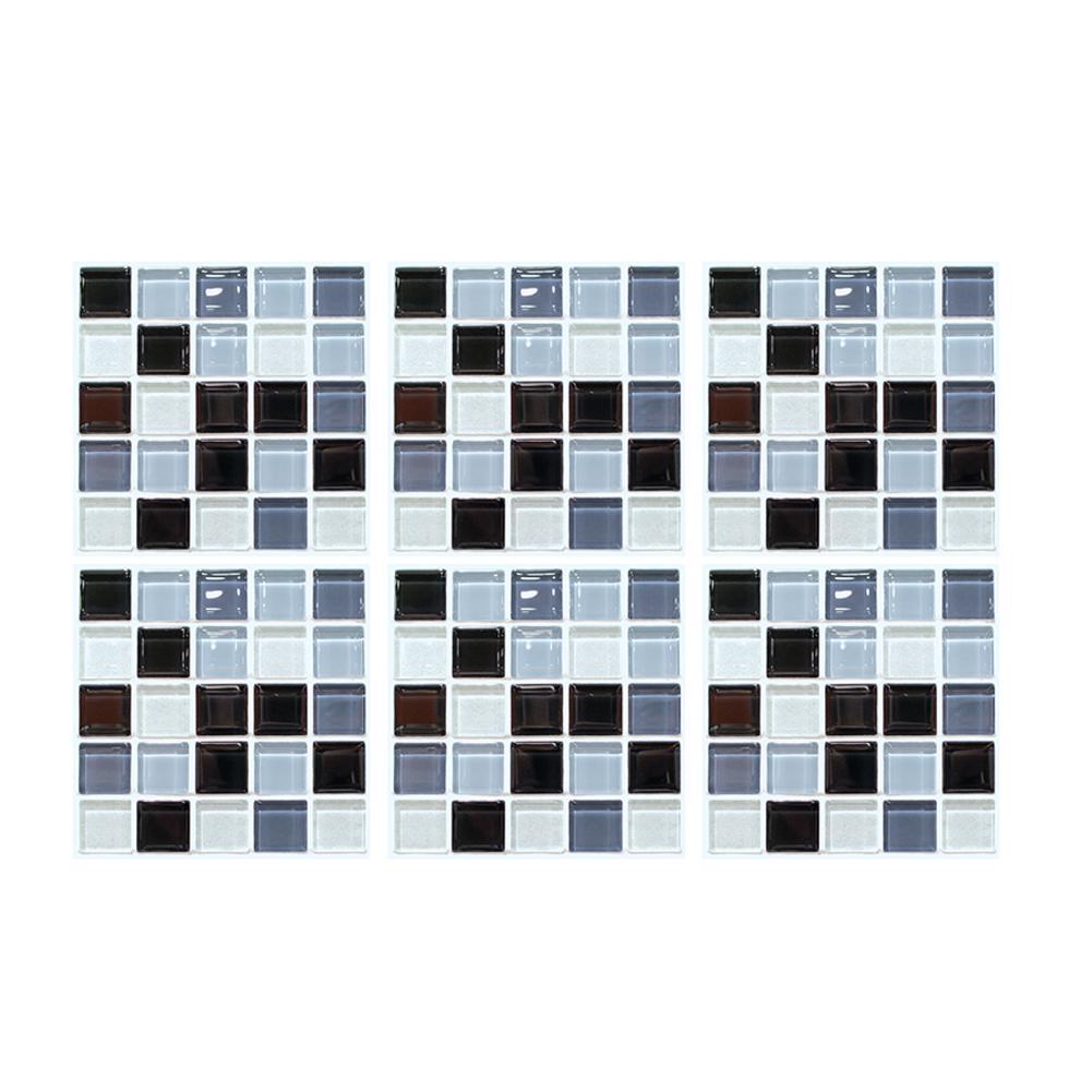 6 Pcs Oil Proof Tile Style 3D Mosaic Etiqueta Banho anti zero autoadesivo