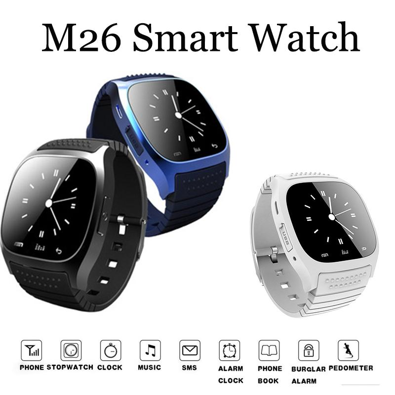 NEW M26 Bluetooth Smart Watch Wristbands luxury wristwatch smartwatch with Dial SMS Remind Pedometer for Android Samsung phone Retail box