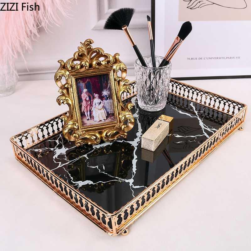 Quadratische Tabletts Dekorative Marmor Agate Textur Ausgeglichenes Glas Spiegel Skincare Lagerung Schmuck Platte Couchtisch Badezimmer Tray