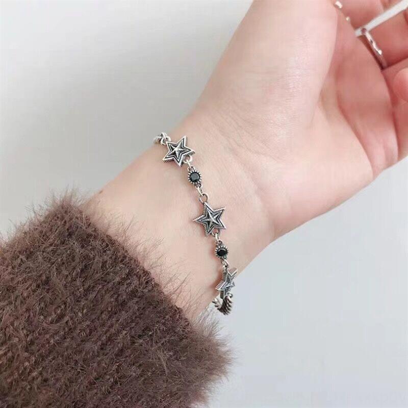 buWRY Pentagrama pulseira cadeia tanque estrela tanque Coreia do Sul East Gate S925 prata Old Thai prata zircão ocasional pulseira da moda