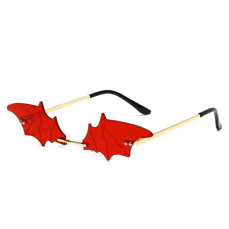 Marca Diseño Gafas de sol Ropa de mujer sin montura de metal Bat Gafas de sol de señora Mirror gafas de sol UV400 Gafas Sombras