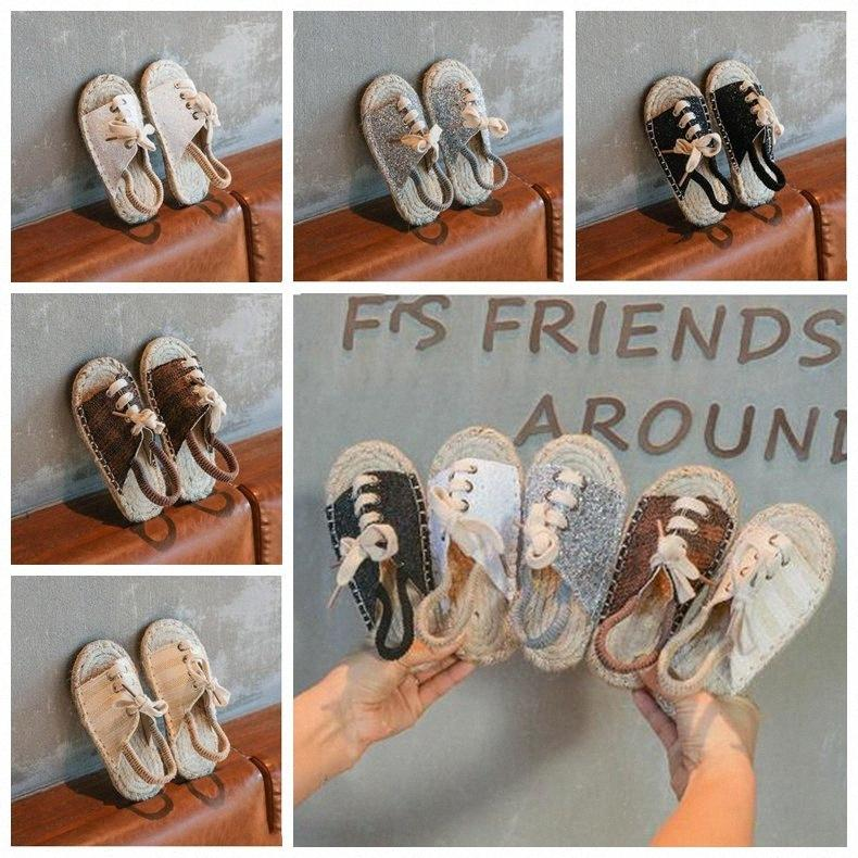 Kids Designer Shoes Girls Straw Shoes Baby Girl Sequins Flat Sandals Retro Casual Beach Shoes Fashion Summer Cool Antiskid Slippers ZY 0Eww#