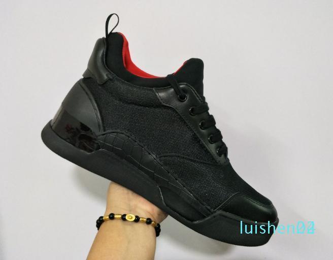 2020 Red Bottom concepteur Hommes Sneakers Aurelien Lovers plat cuir véritable Casual Top Flats Red Shoes Bas de luxe Taille L24
