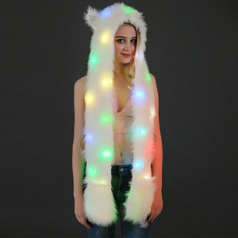 Pelúcia Chapéus Halloween Natal levou luz morno capa Scarf Cap Para Mulheres Meninas do chapéu do partido animal Costume Suprimentos HH9-2446