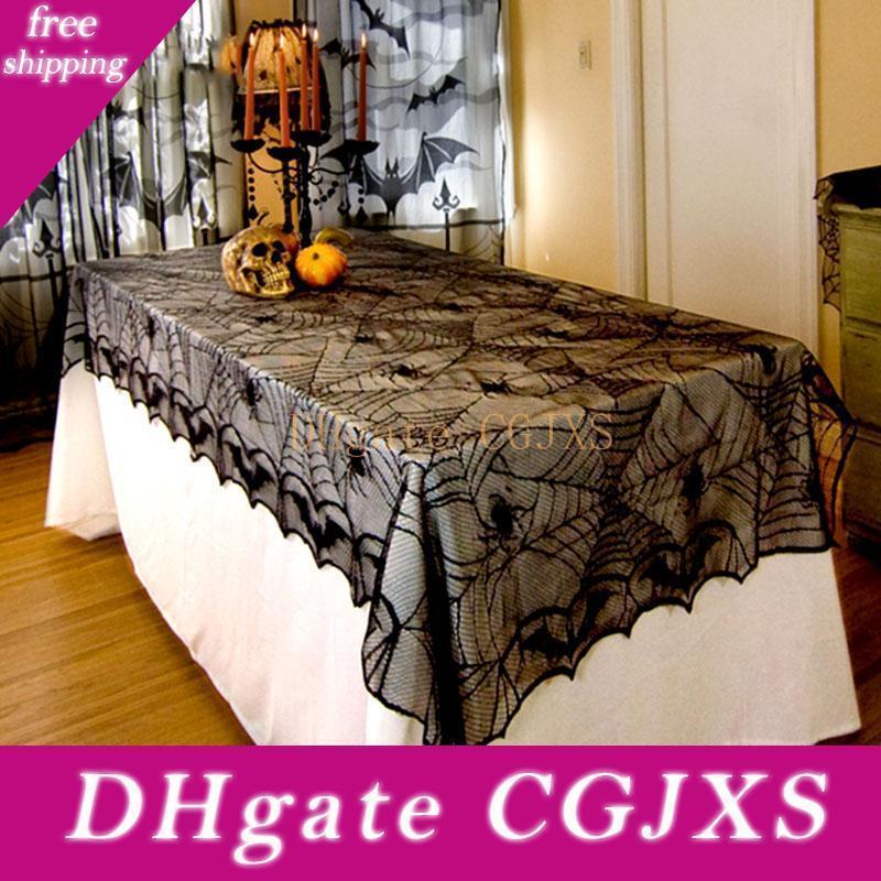 Halloween Dekoration Halloween Tischdecke Spitze-Tabellen-Abdeckung für Start 122 * 244cm Black Spider Tischdecke für Geist-Party-Dekoration