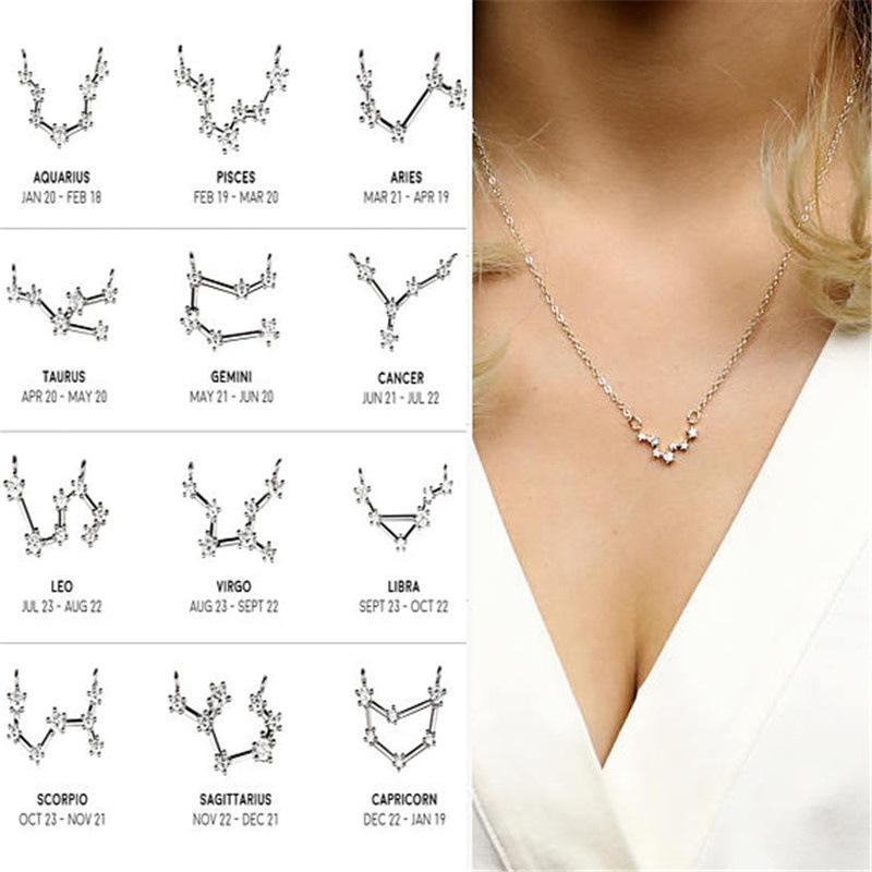 Crystal Star 12 Constellation Pendants Necklaces for Women Zodiac Sign Female Elegant Silver Gold Color Birthday Gift Choker Jewelry Gift