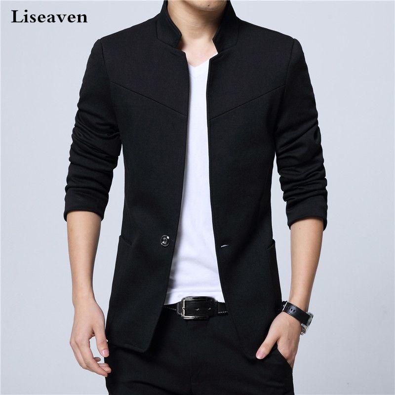 Liseaven Blazer Erkekler Ceketler Erkek Standı Yaka Erkek Blazers Slim Fit Erkek Blazer siyah Ceket Erkekler Artı boyutu 5XL 200922