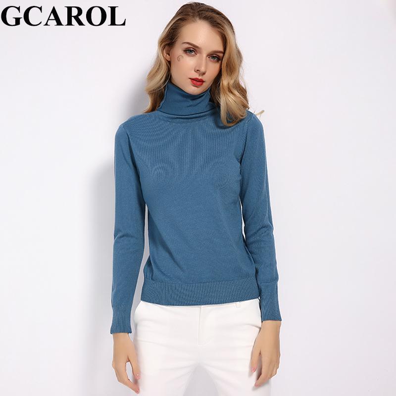 GCAROL nuevo de las mujeres el 30% de lana de cuello alto suéter de invierno de la caída del puente de punto Render básica del jersey del color sólido OL señora Knitted Tops Y200819