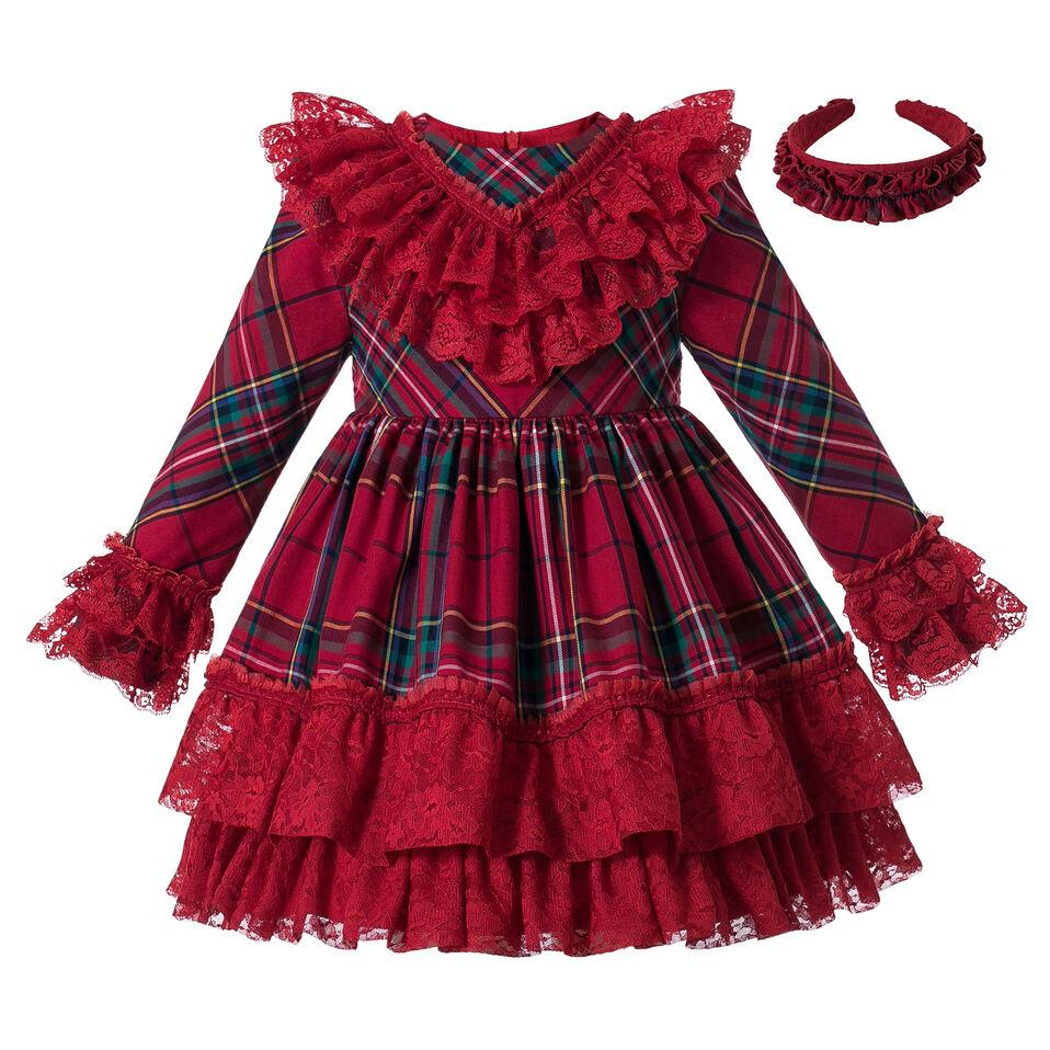 Pettigirl New Arrival Party For Kids Girl Long Sleeve Christmas Dress Girl Lace Fluffy Dress With Red Bows Children Dress G-DMGD306-A560