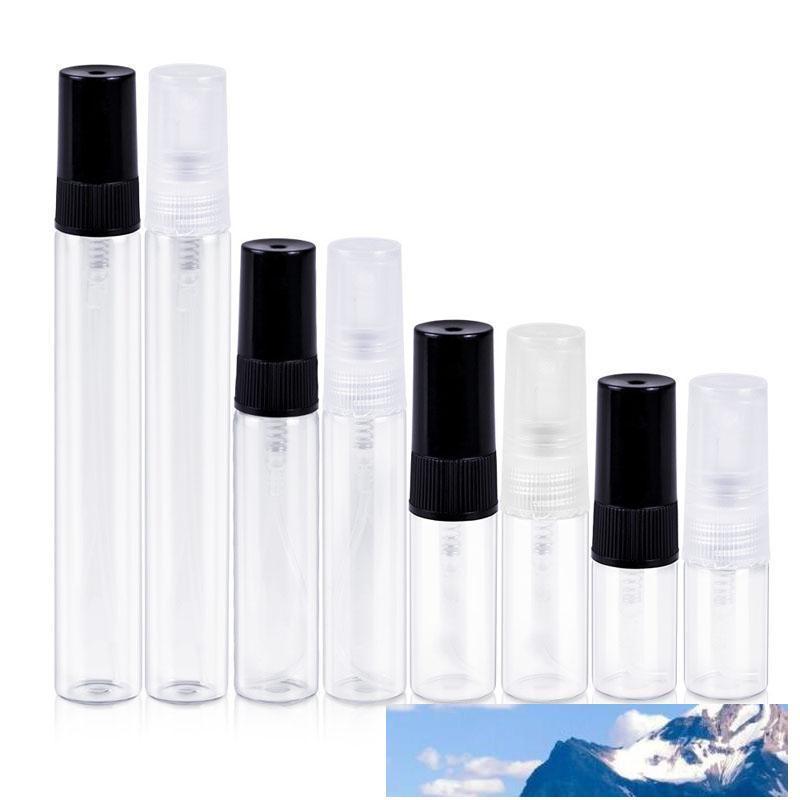 500pcs 2 ml 3 ml 5 ml 10 ml Glas Parfüm-Flaschen Klarglas Spray-Flaschen Leere Duft Verpackung Vial mit schwarzem White Cap